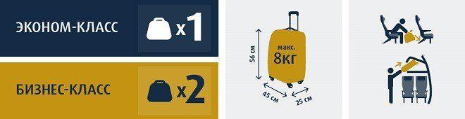 Размер ручной клади, допустимой для перевозки в салоне самолета