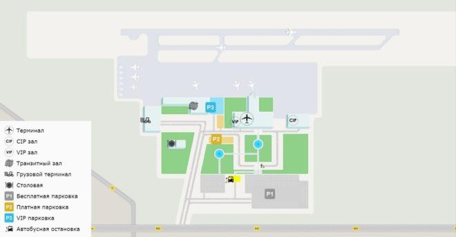 Схема общего плана аэропорта с легендой